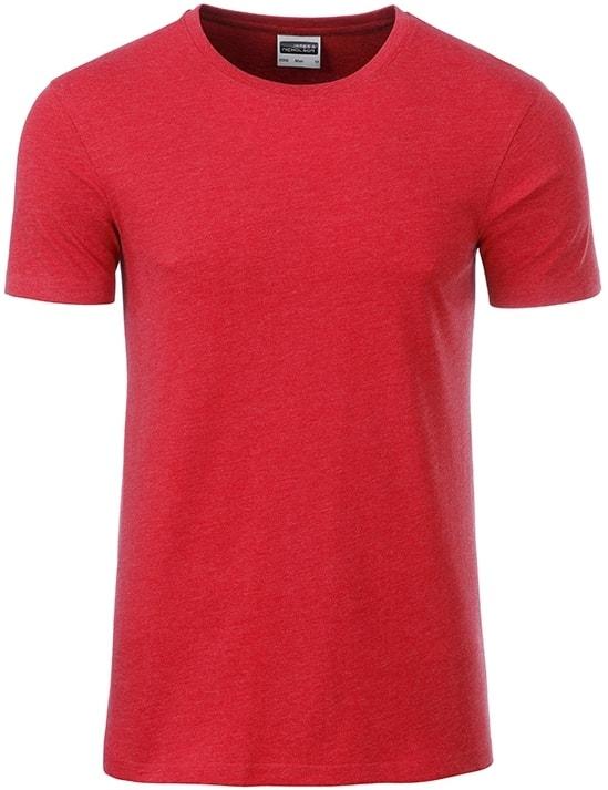 Klasické pánské tričko z biobavlny 8008 - Karmínový melír | M