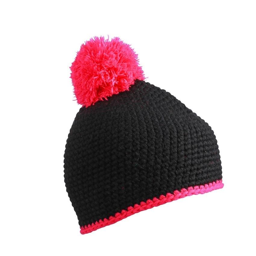 Pletená čepice s kontrastním pruhem a bambulí MB7964 - Černá / růžová | uni