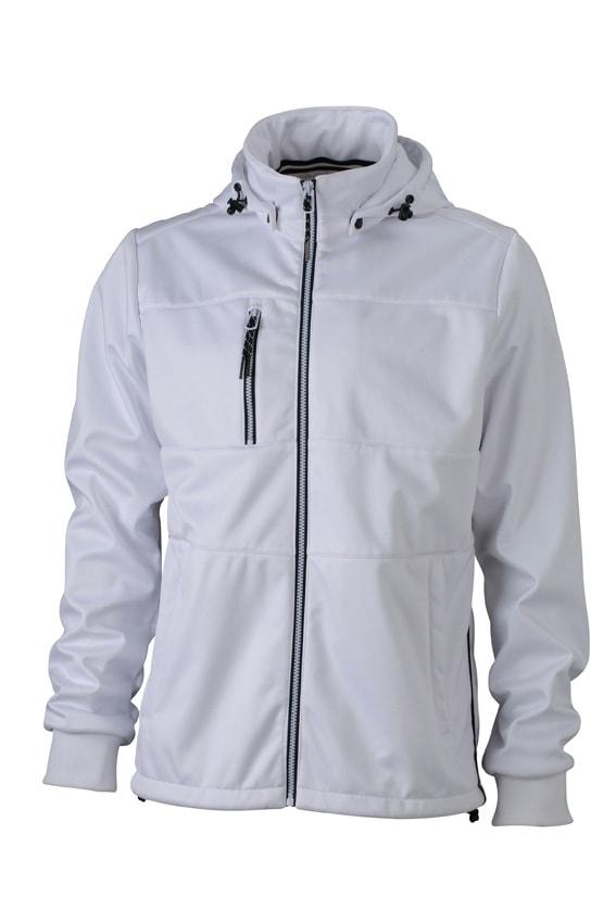 Pánská sportovní softshellová bunda JN1078 - Bílá / bílá / tmavě modrá | S