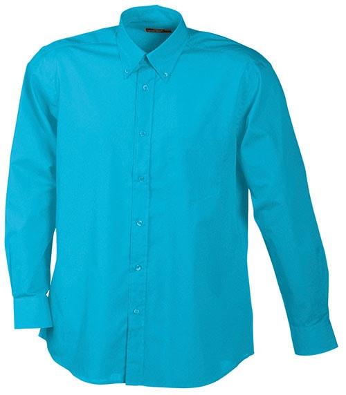 Pánská košile s dlouhým rukávem JN600 - Tyrkysová | XXXL