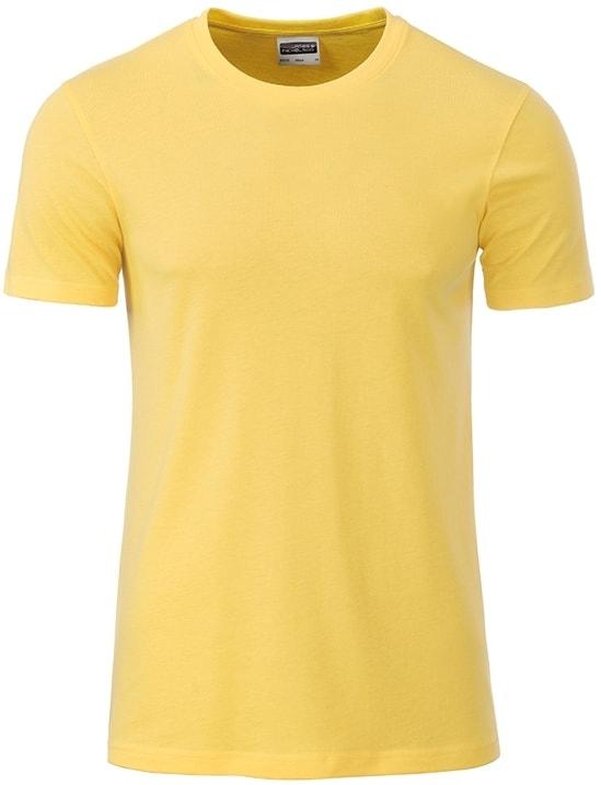 Klasické pánské tričko z biobavlny 8008 - Světle žlutá | M