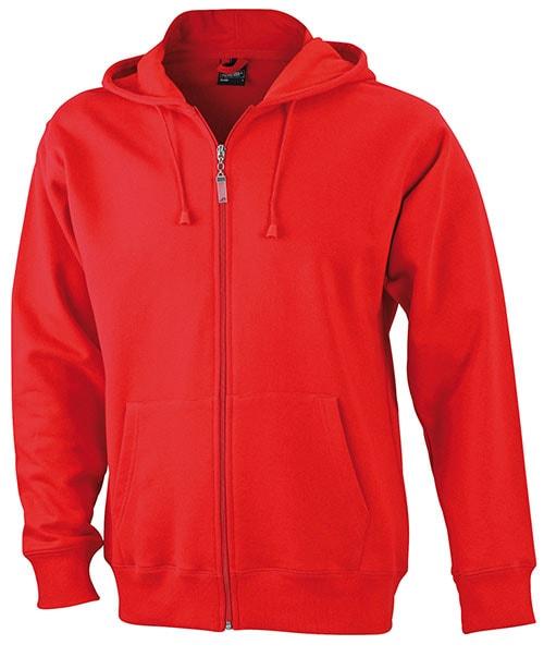 Pánská mikina na zip s kapucí JN042 - Červená | XXXL