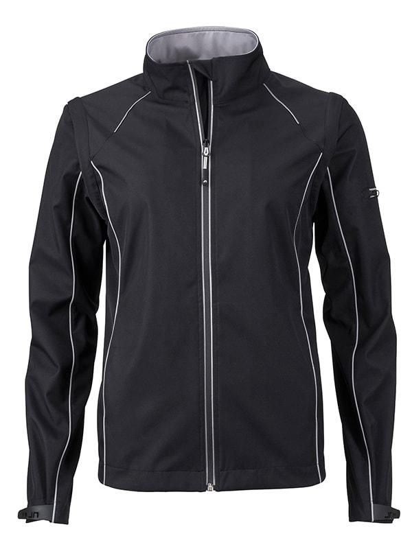 Dámská softshellová bunda 2v1 JN1121 - Černá / stříbrná | XXL