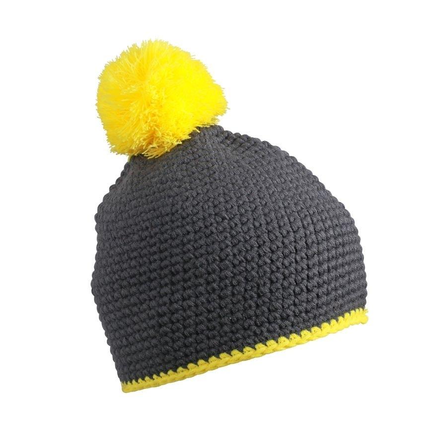 Pletená čepice s kontrastním pruhem a bambulí MB7964 - Tmavě šedá / žlutá | uni