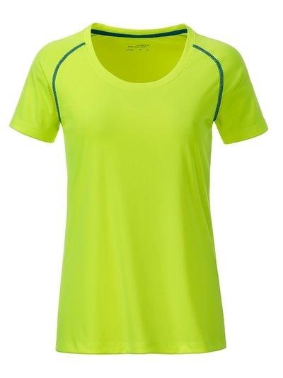 Dámské funkční tričko JN495 - Jasně žlutá / jasně modrá | XL