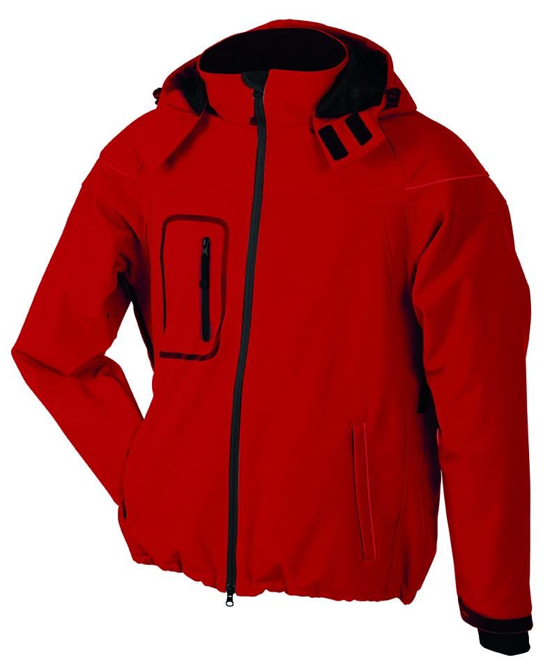 James & Nicholson Zimná pánska softshellová bunda JN1000 - Červená   XXL