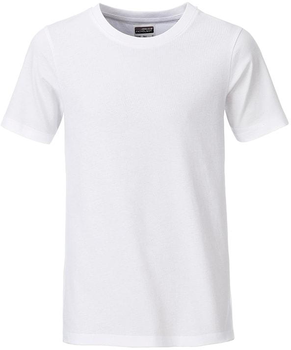 Klasické chlapecké tričko z biobavlny 8008B - Bílá | XXL