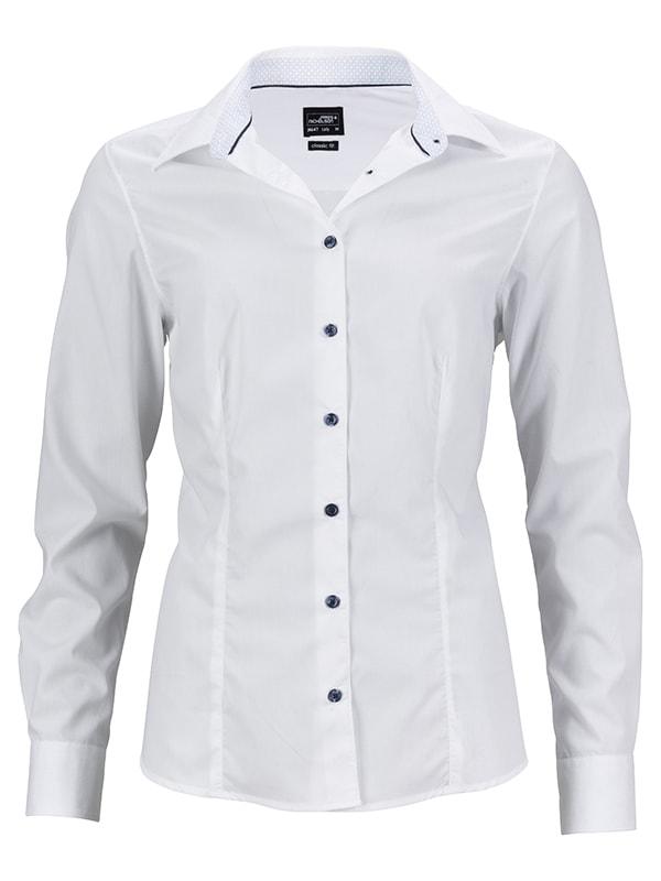 Dámská bílá košile JN647 - Bílo-světle modrá | XXL