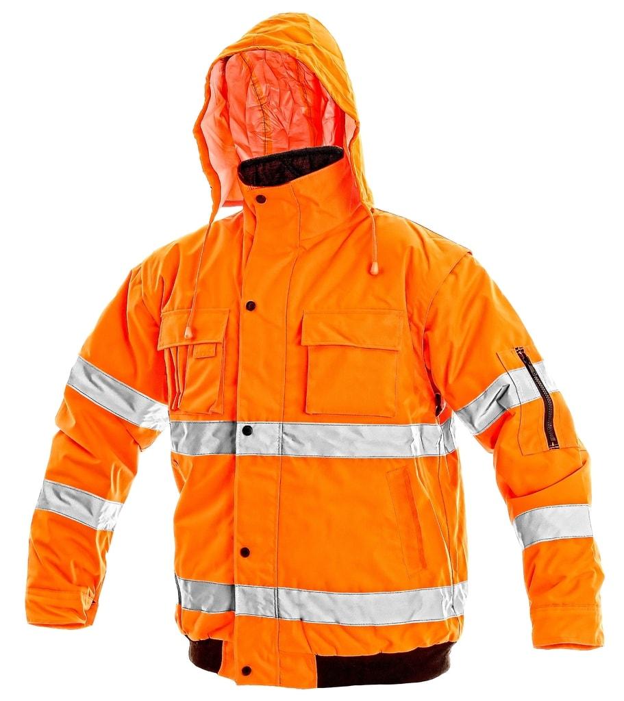 Zimní reflexní bunda s odepínacími rukávy LEEDS - Oranžová | XL