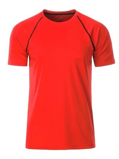 Pánské funkční tričko JN496 - Jasně oranžová / černá | S