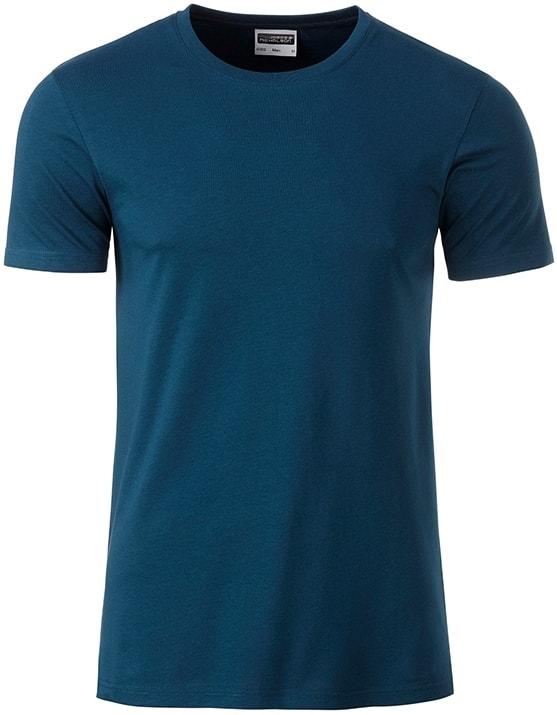 Klasické pánské tričko z biobavlny 8008 - Petrolejová | M
