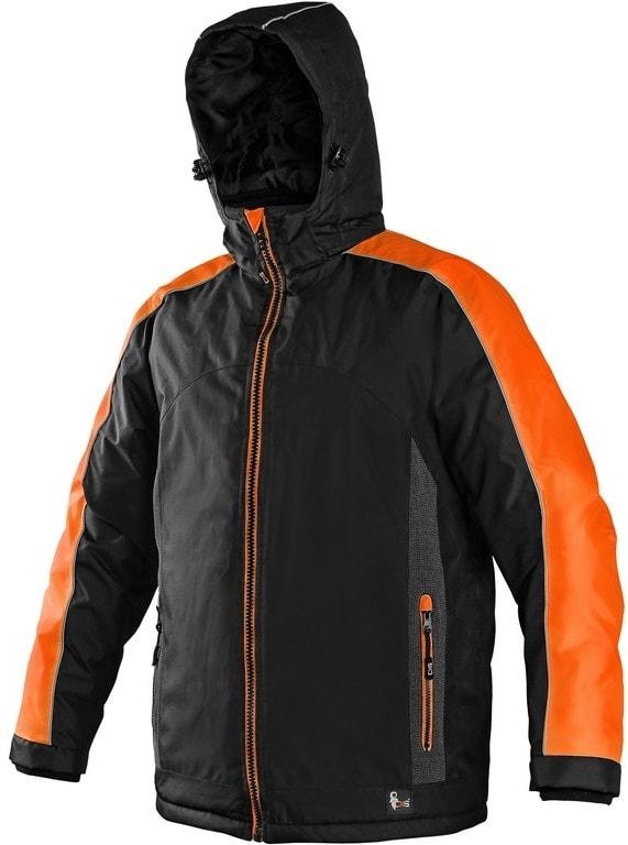 Canis Pánská zimní bunda BRIGHTON - Černá / oranžová | XXXL