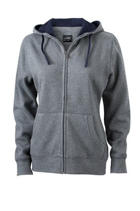 Dámská mikina na zip s kapucí JN962 - Šedý melír / tmavě modrá | S