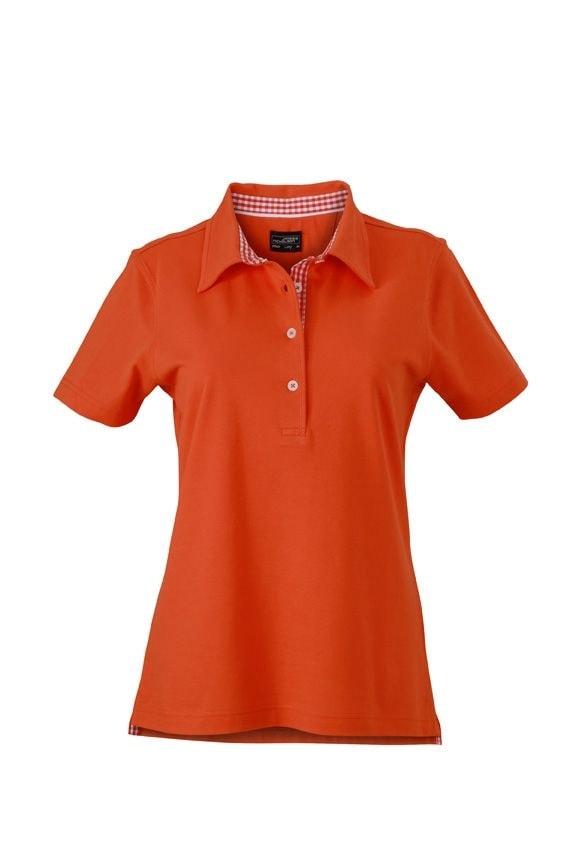 Elegantní dámská polokošile JN969 - Tmavě oranžová / tmavě oranžová / bílá   L