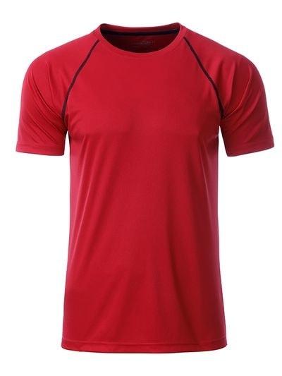Pánské funkční tričko JN496 - Červeno-černá | M