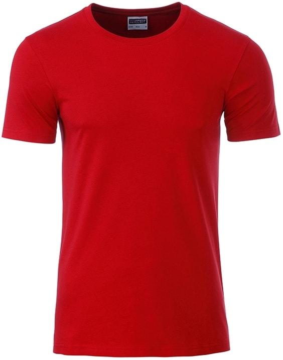 Klasické pánské tričko z biobavlny 8008 - Červená | M