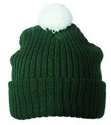 Pletená čepice s bambulí MB7540 - Tmavě zelená / bílá | uni