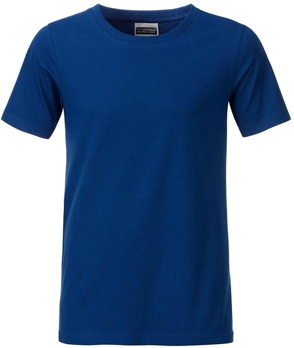 Klasické chlapecké tričko z biobavlny 8008B - Tmavá královská modrá | M