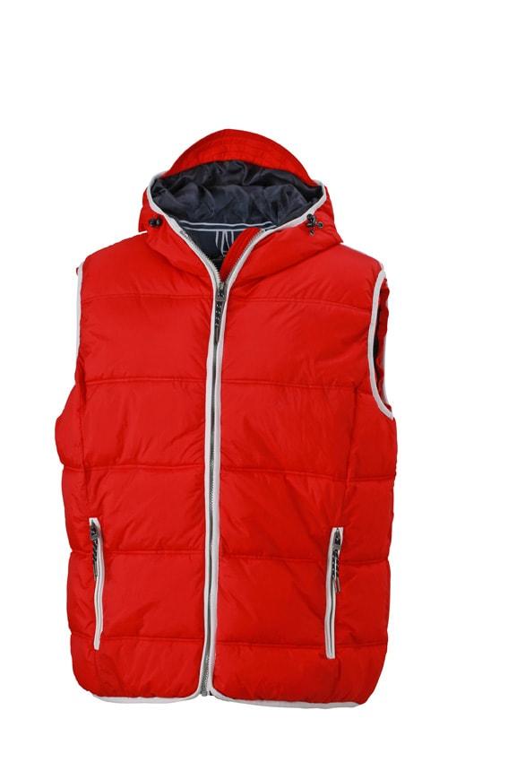 Pánská vesta s kapucí JN1076 - Červená / bílá   S