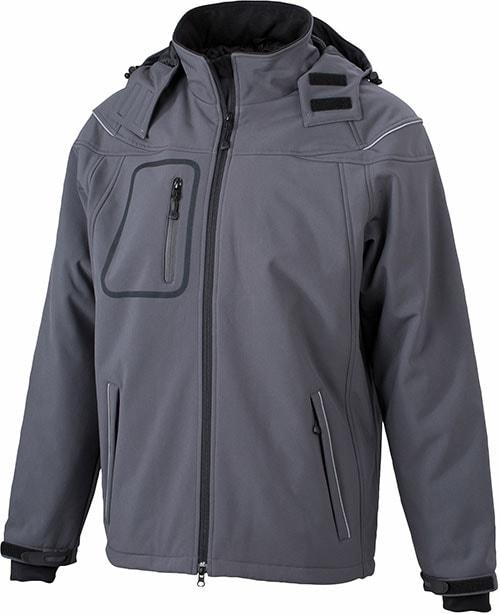 James & Nicholson Zimná pánska softshellová bunda JN1000 - Tmavě šedá   L