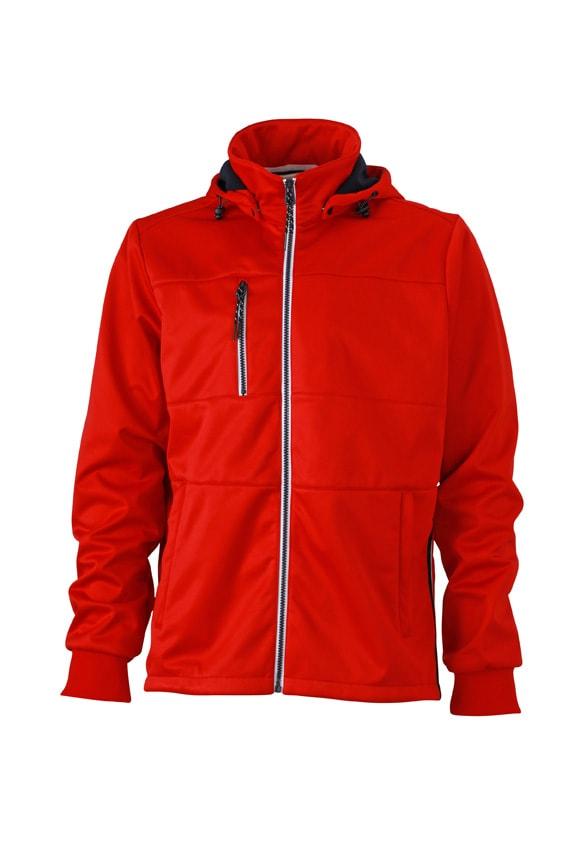Pánská sportovní softshellová bunda JN1078 - Červená / tmavě modrá / bílá | XXXL