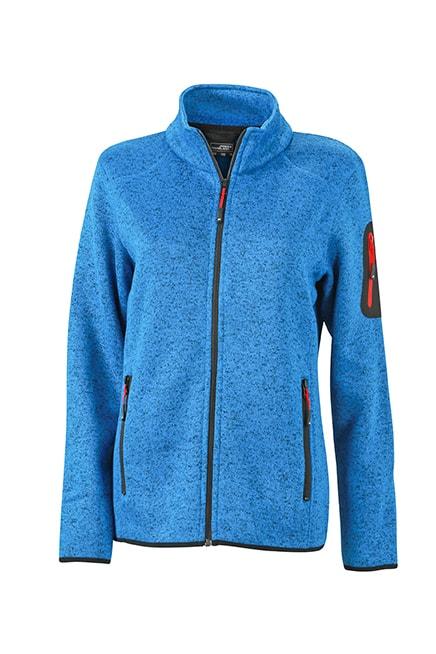 Dámská bunda z pleteného fleecu JN761 - Královsky modrý melír / červená | S
