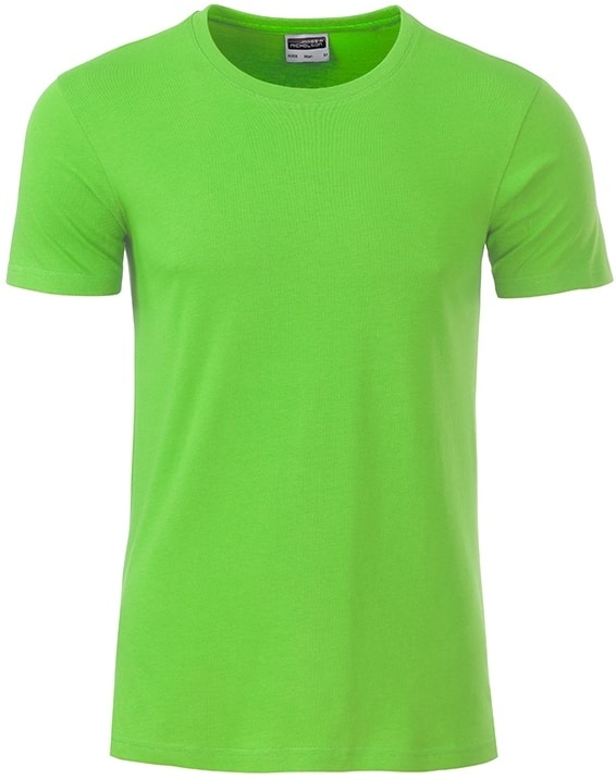 Klasické pánské tričko z biobavlny 8008 - Limetkově zelená | M