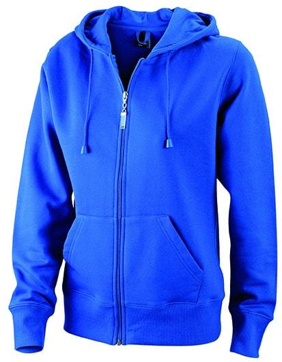 Dámská mikina na zip s kapucí JN053 - Královská modrá | L