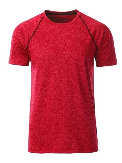 Pánské funkční tričko JN496 - Červený melír - titan | L