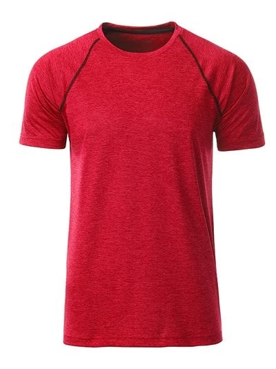 Pánské funkční tričko JN496 - Červený melír - titan | XXL