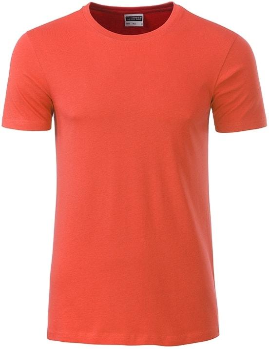 Klasické pánské tričko z biobavlny 8008 - Korálová | M