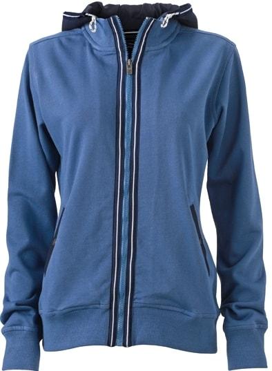 Dámská mikina s kapucí na zip JN995 - Džínová / tmavě modrá | L