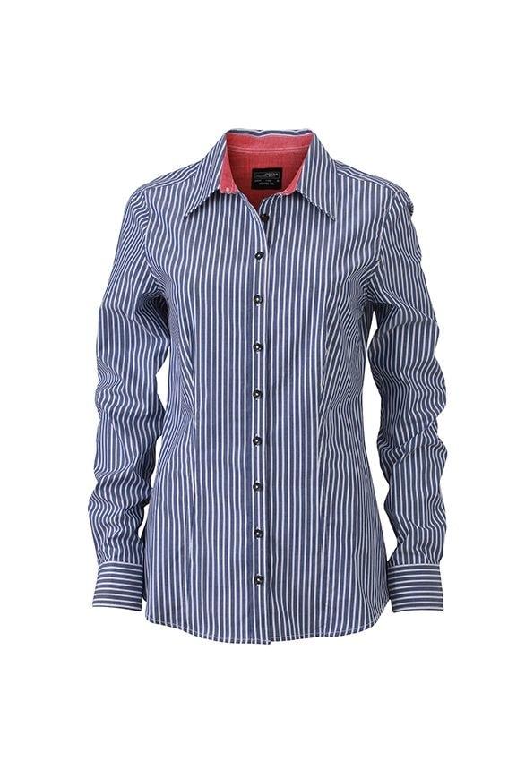 Dámská pruhovaná košile JN631 - Tmavě modro-červená   M