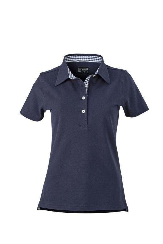 Elegantní dámská polokošile JN969 - Tmavě modrá / tmavě modro-bílá   L