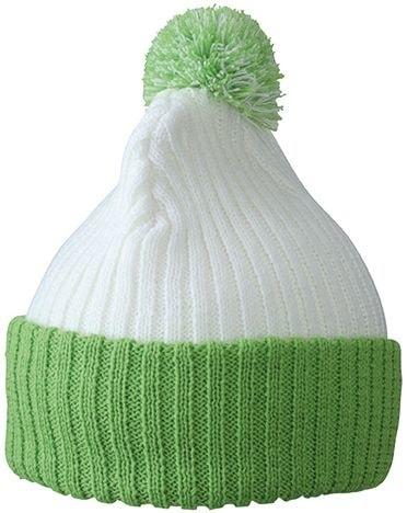 Pletená čepice s bambulí MB7540 - Bílá / limetkově zelená | uni