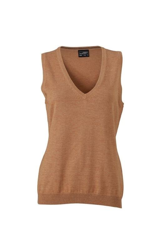 Dámský svetr bez rukávů JN656 - Camel | XL