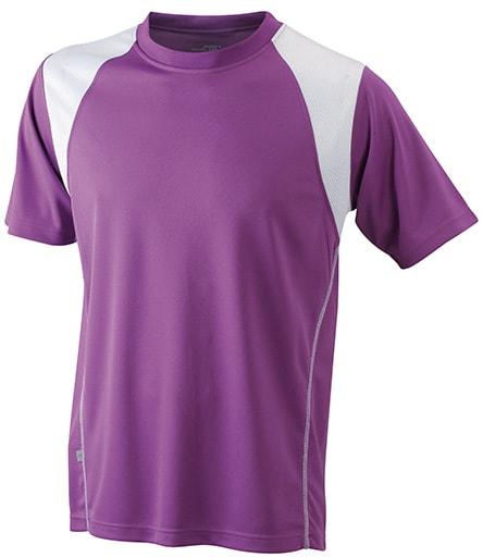 Dětské sportovní tričko s krátkým rukávem JN397k - Fialová / bílá | XXL