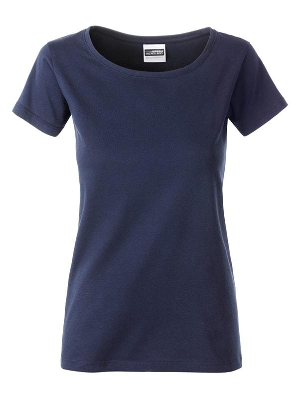 Klasické dámské tričko z biobavlny 8007 - Tmavě modrá | S