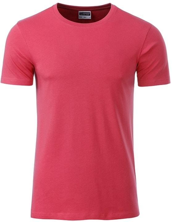 Klasické pánské tričko z biobavlny 8008 - Malinová | M