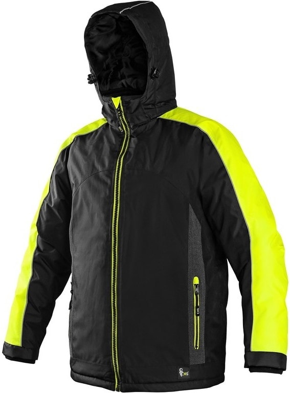 Canis Pánská zimní bunda BRIGHTON - Černá / žlutá | XXXL