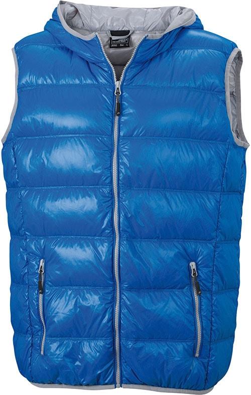 Lehká pánská péřová vesta JN1062 - Modrá / stříbrná | XXL