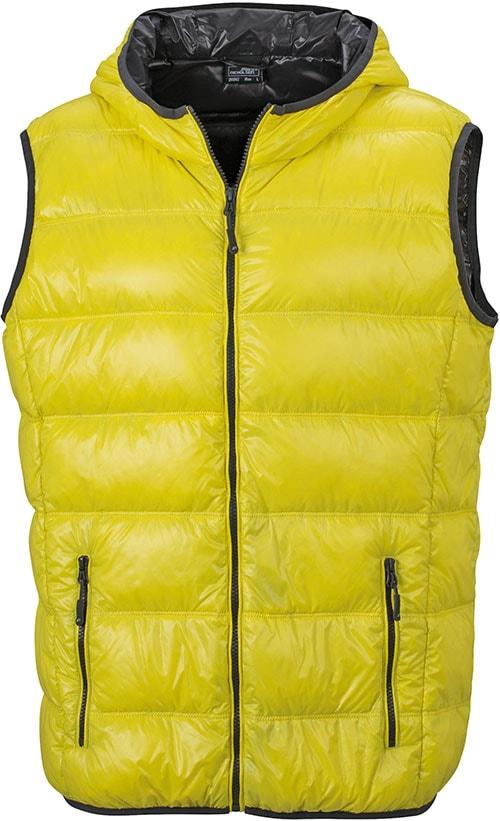 Lehká pánská péřová vesta JN1062 - Žlutá / tmavě šedá | XL