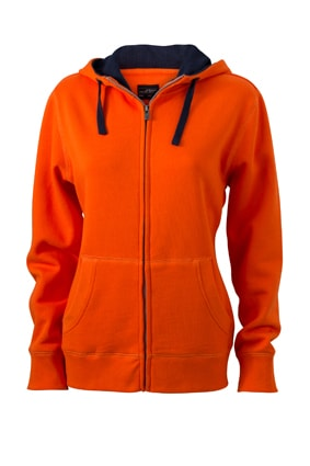 Dámská mikina na zip s kapucí JN962 - Tmavě oranžová / tmavě modrá | S