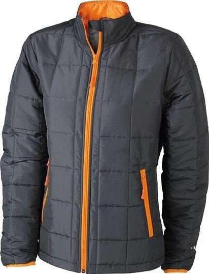 Dámská polstrovaná bunda JN1034 - Tmavě šedá / oranžová | XXL