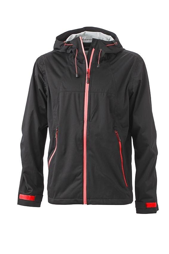 Pánská softshellová bunda s kapucí JN1098 - Černá / červená | XXXL