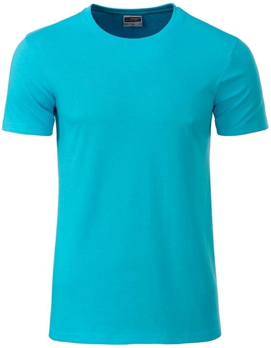 Klasické pánské tričko z biobavlny 8008 - Tyrkysová | M