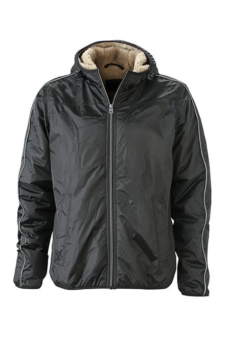 James & Nicholson Pánska zimná bunda Baránok JN1104 - Černá / camel | XXL