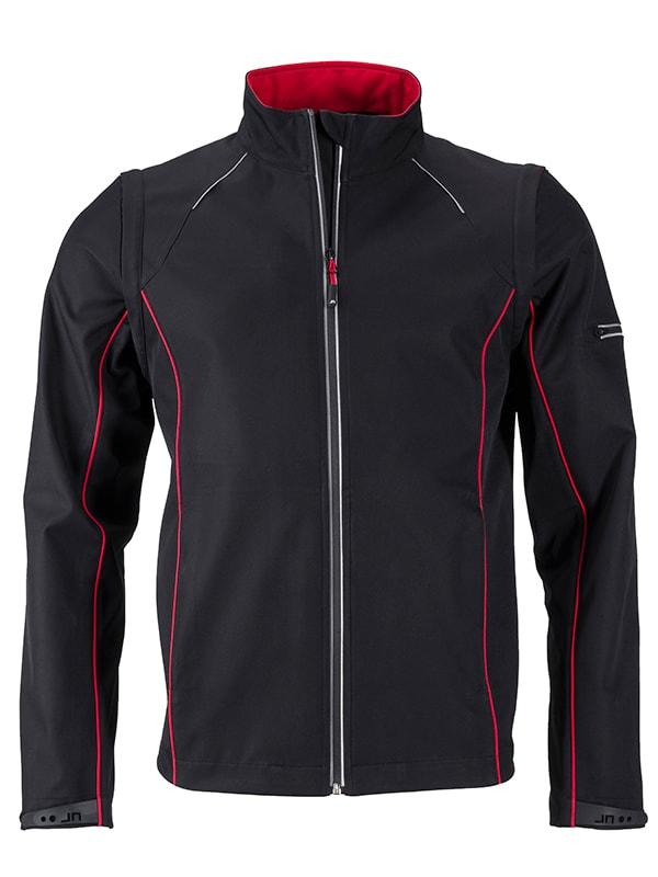 James & Nicholson Pánska softshellová bunda 2v1 JN1122 - Černá / červená | XXXL