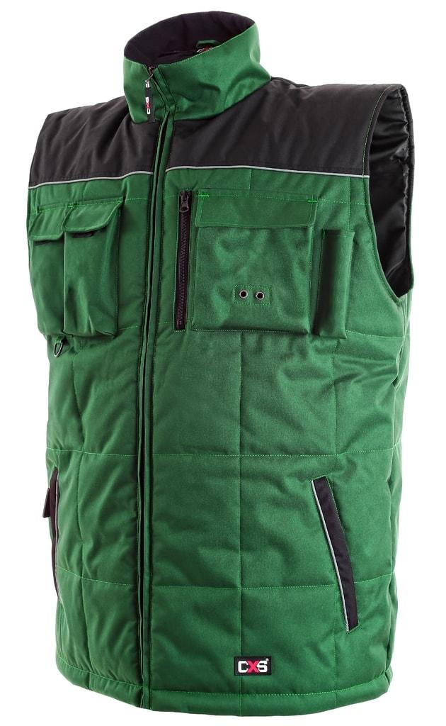 Zateplená pracovní vesta SEATLE - Zelená / černá | XL