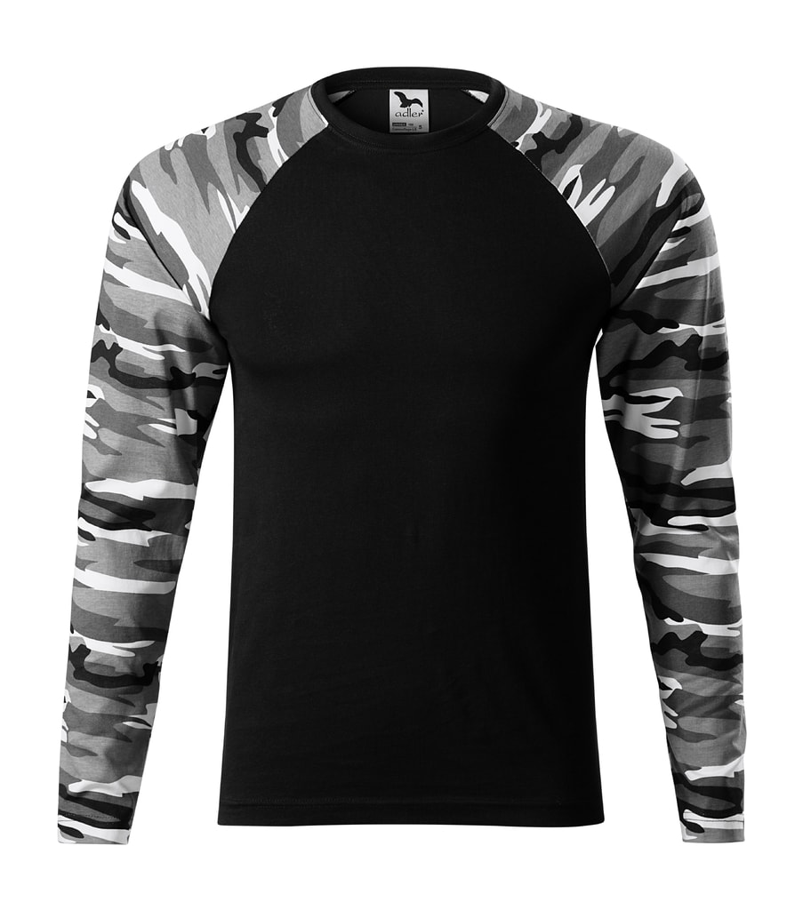 Maskáčové tričko s dlouhým rukávem - Maskáčová šedá | L